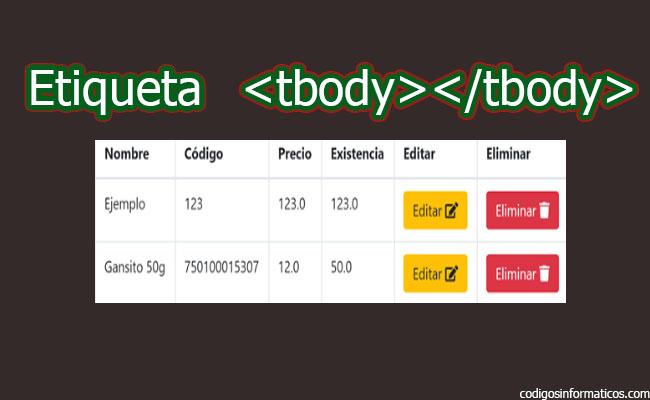 etiqueta tbody