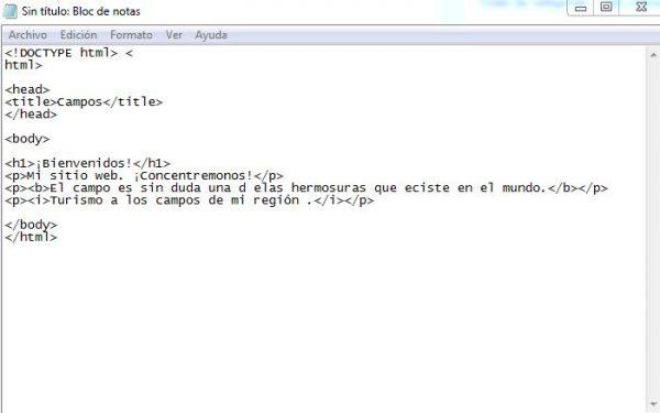 como programar en bloc de notas html